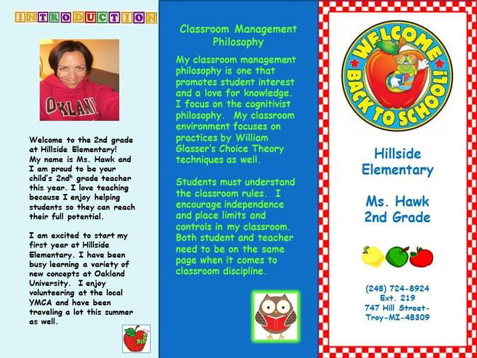 Back to School Classroom Brochure - Ms. Hawk's Classroom Adventures